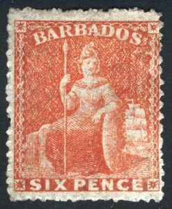 Barbados 1861 6d Orge Verm rough P 14-16 No Wmk SG 31 Scott 20 MH Cat £140($172)