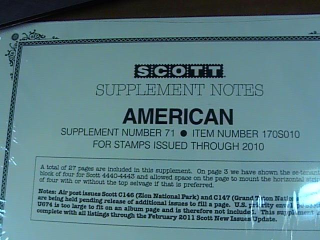 U.S.-SCOTT -AMERICAN---2010 SUPPLEMENT--(NUMBER 71)-NEW IN PLASTIC