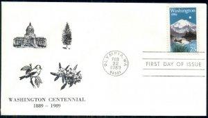 LOT OF 85, 1978 FDC'S WASHINGTON CENTENNIAL 1889-1989 WITH CACHET & CANCEL