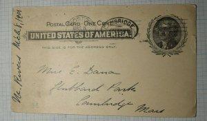 US Sc# UX14 Used Postal Card Cambridge MA 1901