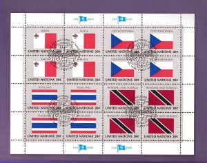 United Nations New York #357a cancelled 1981 sheet flags Malta   Thailand