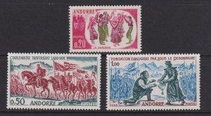 Sc# 155 / 157 French Andorra 1963 complete set MVLH CV $27.50