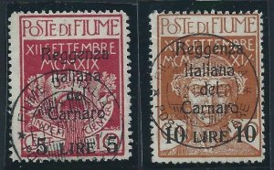 1920 Fiume, N°145/146 Cancelled Vinyl Decals A. Diena