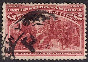 US Stamp #242 USED $2 Columbian SCV $525