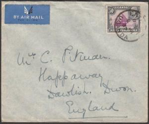 KENYA UGANDA TANGANYIKA 1937 airmail cover to UK ENTEBBE cds..............57644