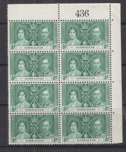 GIBRALTAR, 1937 Coronation, 1/2d. Green, Sheet # 436, block of 8, mnh.