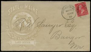 1896 2¢ FULL FRONT ADVT STATE OF MAINE LAND OFFICE COVER, VF+ BQ2644
