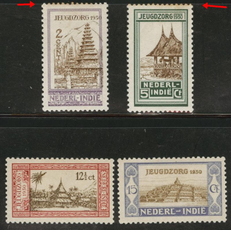 Netherlands Indies Scott B4-7 MH* 1930 semipostal set toned