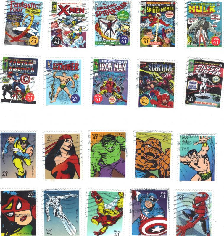 .41 cent Marvel Comic Heroes-used set of 20-scan 8/9