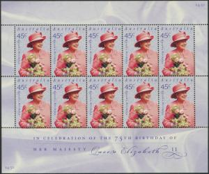 Australia 2001 SG2099 Queen's Birthday sheetlet of 10 MNH