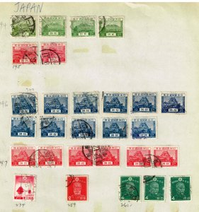 JAPAN STAMP USED STAMPS ON PAGE COLLECTION LOT  #3