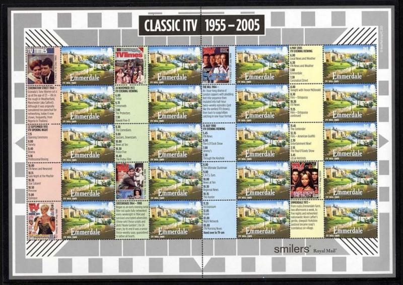 GB QEII Smiler Sheet 2005 LS26 Classic ITV 1st class Decimal IN MNH CONDITION