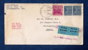US Sc #810 Pair and Sc #836 On A Cover to Sweden F-VF