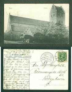 Denmark. Postcard 1906.Town  Køge Church.People.Stamp 5 Ore King .Cancel: Køge