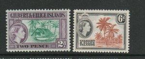 Gilbert & Ellice islands 1964/5 Def pair Block CA UM/MNH SG 85/6