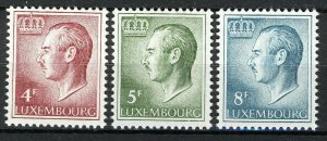 Luxembourg 1971-74, Grand Duke Jean, Fiber ph set VF MNH Mi 829ya-831ya cat 4,5€