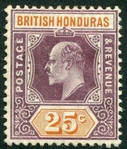 BRITISH HONDURAS-1907 25c Dull Purple & Orange Sg 89 MOUNTED MINT  V34110
