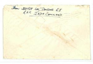 INDIA Cover *RAF POST 4* CDS Forces Air Mail 1946 Upminster Essex{samwells}CW109