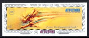 Aitutaki 445 $3 Human Comet Environment / Ecology MNH S/S SCV$8.00 1990