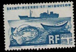 ST PIERRE & MIQUELON Scott # 338 Used 2 - Fishing Trawler & Fish