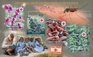 CENTRAFRICAINE 2014 SHEET RED CROSS DANGEROUS VIRUSES