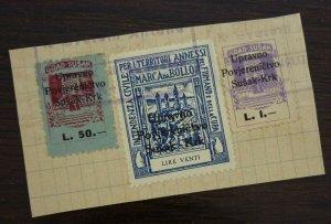 Fiume c1946 Croatia Italy Yugoslavia Revenue Stamps On Fragment  C3