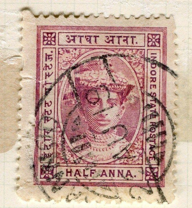 INDIA;   INDORE 1904 early Holkar III issue 1/2a. fine used nice Postmark