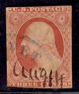 US Stamp #10 3c Washginton Orange Brown USED SCV $185