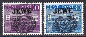 ESTONIA  JEWE OVERPRINTS CDS F/VF TO VF SOUND x2 #3