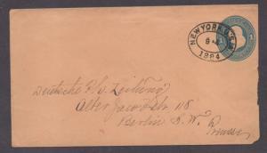 **US 19th Century Post Sta Cover, SC# U115a, NY, NY 9/4/1884,1¢ Rate to Germany?