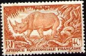 Black Rhinoceros & Rock Python, Fr. Equatorial Africa SC#168