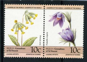 Bequia St.Vincent grenadines 1985 FLOWERS 2 values Perforated Mint (NH)