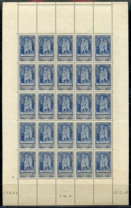 FRANCE SCOTT#B74 SHEET OF 25  MINT NEVER  HINGED SOME TONING OF THE SELVAGE