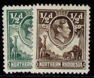NORTHERN RHODESIA GVI SG25 + 26, ½d COLOUR VARIETIES, M MINT.
