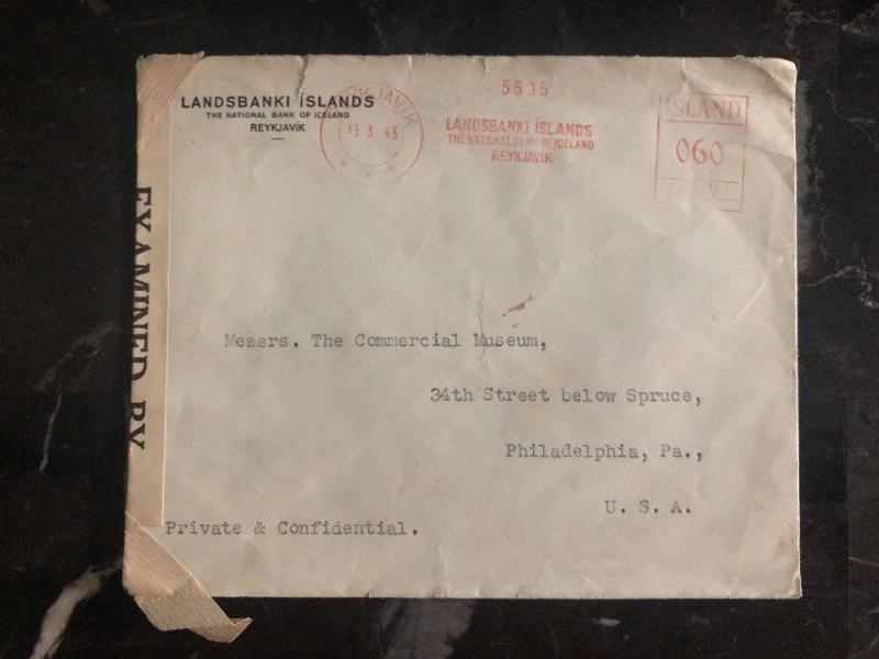 1943 Reykjavik Iceland National Bank Censored Cover To Philadelphia Usa Hipstamp