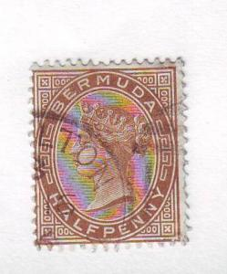 Bermuda Sc16 1880 1/2 d brown Victoria stamp used