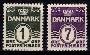 Denmark 1933-2004 Definitives, quadrille background perf 13, 1o & 7o [Mint]