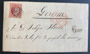 1853 Barcelona Spain Letter Sheet cover To Genova