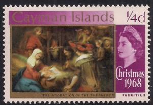 Cayman Islands 1968 - 69 QE2 1/4d  Christmas Shepherds MM SG 221 ( L1281 )