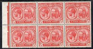 St Kitts-Nevis 1921-29 KG5 Script CA Columbus 1.5d red bl...