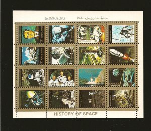 Ajman State History of Space 1973 Souvenir Sheet of 16 CTO Mint Hinged