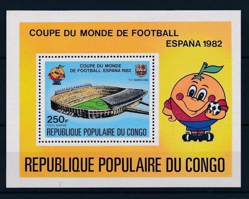 [43626] Congo Brazzaville 1980 World Cup Football Soccer Spain MNH Sheet