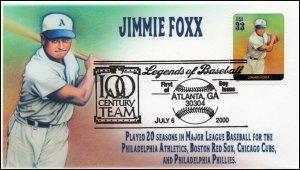 AO 3408N, 2000, Legends of Baseball, FDC, Add On Cachet, Jimmie Foxx, SC 3408n