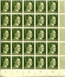 GERMANY Sc# 519 Corner Block of 25 Stamps Postage WWII Adolf Hitler Mint NH OG