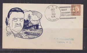 UNITED STATES, NAVY, USS TILLMAN, 1935 Navy Day, Portland, ME. Illustrated cover
