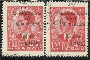 MONTENEGRO 1942 SOPRASTAMPA NERA BLACK OVERPRINTED VALORE LIRE 1,50 D COPPIA ...