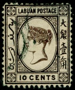 LABUAN SG32, 10c sepia, USED. Cat £70.