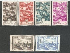 French Morocco 1947,6 stamps,Scott # 221-226,VF 2 Mint*/4 MNH** (SL-1)