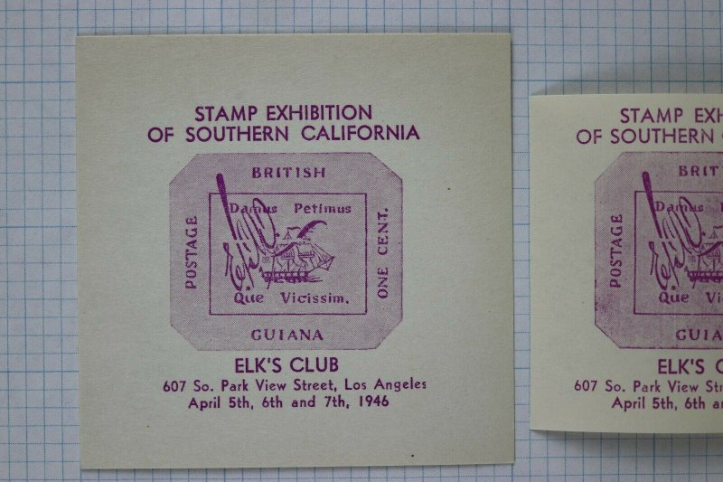 Elk's Club Los Angeles 1946 British Guiana magenta Expo So Cal Philatelic label