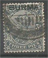 BURMA, 1937, used 3p, Overprinted, Scott 1